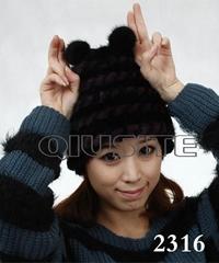 水貂編織女士帽