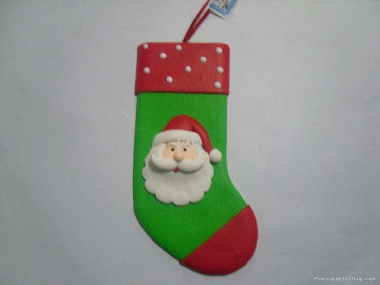 Cute stocking polymer clay for christmas tree hanging for Arts and crafts christmas decoration ideas