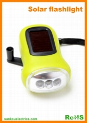 Dynamo Solar Flashlight With 3LEDs