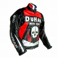 Duhan Motorcycle Racing Leather Jacket With Removable Armor Inside