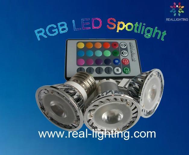 3W led 全彩射燈 帶遙控 1