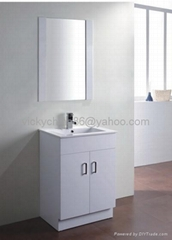 white mdf  bathroom vanity with matched mirror