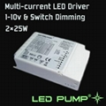 350~1000mA Multi-current LED Driver(2×25W) with 1-10V & Switch Dimming Function 1