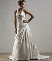 fashion satin wedding dress