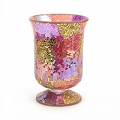 Mosaic Hurricane Glass Candle Holders