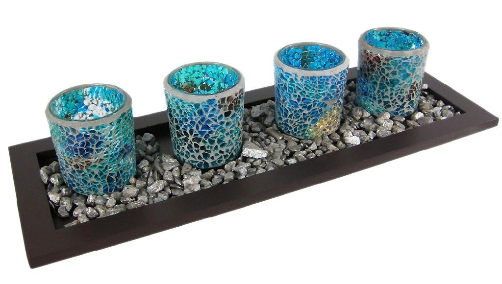 Mosaic Votive Candle Holders On a Wood Tray - YC-C008 - Yichi (China ...