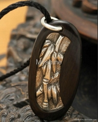 chinese style sterling si  er wood pendant