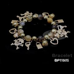 时尚复古骷髅头吊坠玛瑙珠手链BP110415