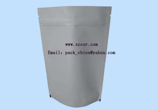 white kraft glossy film aluminum foil coffee bean packaging bag 3