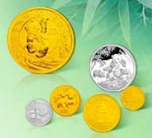 熊猫30周年金银纪念币      1