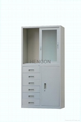 6 drawers glass cabinet