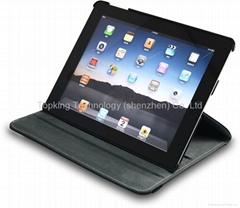 360°荔枝纹PU苹果New iPad旋转皮套