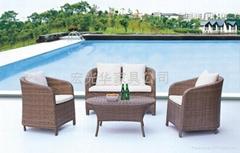 户外家具-全编藤椅及台