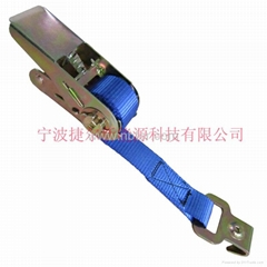 Ratchet buckle with hook or cargo lashing or ratchet tie down strap