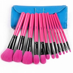 12PCS Cosmetic Natural peach red pro wool brush with H-quality cyanleather bag