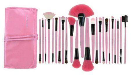 lastest popularpink 24pcs pro wooden handle makeup brush