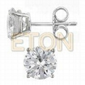 Fashion Triangle CZ rhodium plating silver cz stud earrings
