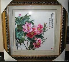 牡丹红花开富贵精品手工刺绣