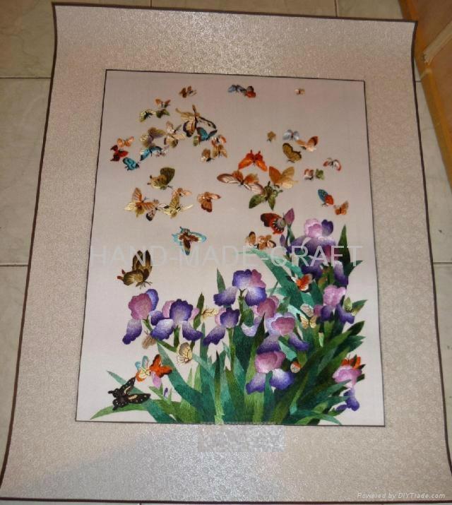 蝴蝶蘭手工蠶絲刺繡軟裱 1