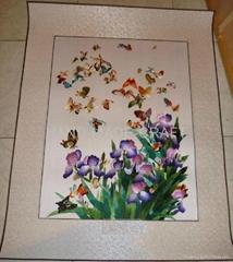 蝴蝶蘭手工蠶絲刺繡軟裱