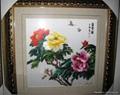 純手工牡丹花單面刺繡