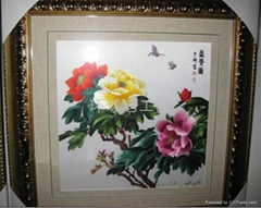 Hand made Peony embroidery with flowers