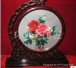 牡丹紅花開富貴精品手工刺繡 2