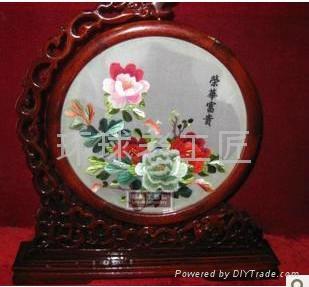 牡丹紅花開富貴精品手工刺繡 3