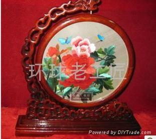 牡丹紅花開富貴精品手工刺繡 4