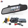4.3 inch Digital TFT-LCD car rearview mirror with camera and 4 parking sensors A