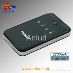 ALD-P03 2200mAh Portable Battery Charger with Emergency LED Light
