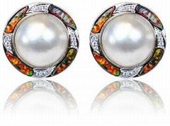 合成澳宝纯银首饰- 马贝珍珠耳环