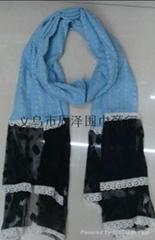 牛仔網布圍巾