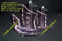 一帆风顺水晶船模