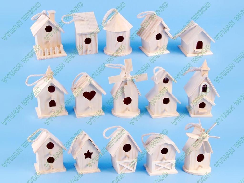 Unfinished wood craft products - Unfinished Wood Bird House 1