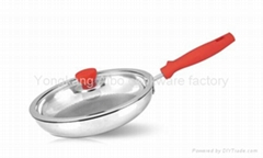 Tri-ply stainless steel frying pan with S/S handle
