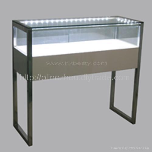 White Glossy Wood Jewellery Display Counter Showcase