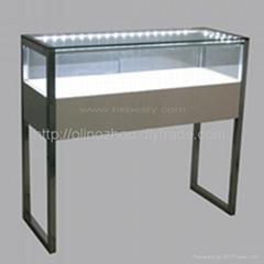 white glossy wood jewellery display counter showcase design