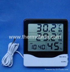 Digital Thermometer, hygrometer with clock TM820
