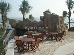 outdoor solid wood dining table set design