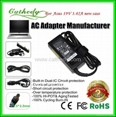 Replacement laptop adapter for Asus 19V3.42A 5.5*2.5mm