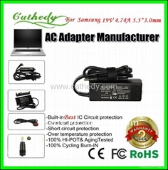Top quality laptop adapter for Samsung 19V4.74A 5.5*3.0*1.2