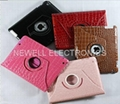 iPad 2 360° Crocodile Rotating Magnetic Leather Case Smart Cover W/ Swivel Stand