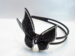 plastic butterfly hair band with beautiful crystal diamond