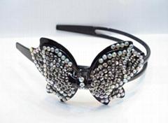 plastic butterfly headband with beautiful crystal diamond