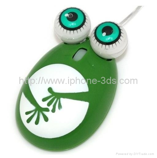 Lovely frog 3D Optical Mouse 800DPI USB 3 Buttons Green 1