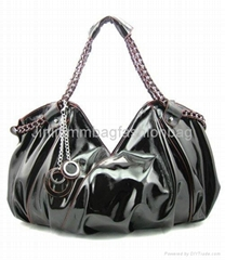 Shiny PU Leather Black Tote Bag For Ladies