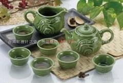 行雲流水茶具1壺6杯(綠釉)