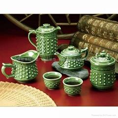 乾坤茶具1壺6杯(綠釉負離子)