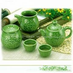 勢在必得茶具(綠釉)1壺2杯